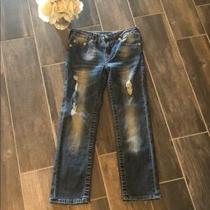 Boys True Religion Distressed Straight Leg Jeans